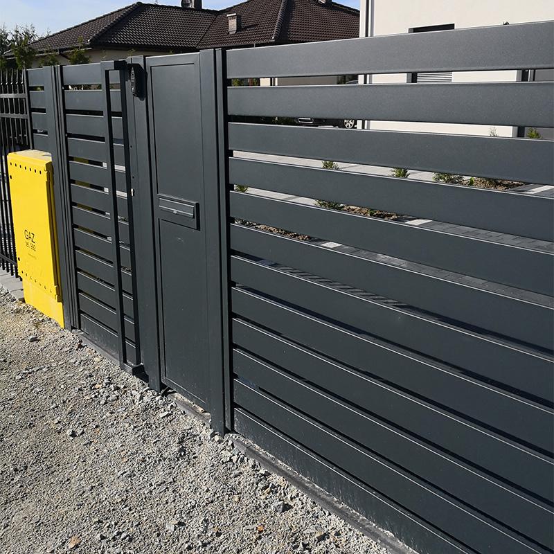 ogrodzenie nowoczesne przęsła brama antracyt proste