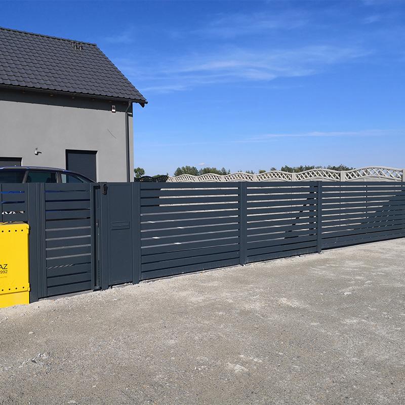ogrodzenie nowoczesne horyzontalne antracyt przęsła brama